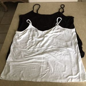 Two Black/White Camisole tops, Size XXL